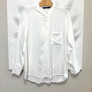 Zara Basics White Button Down Blouse Size M